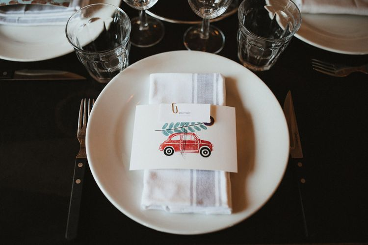 Place Setting with Fiat 500 Illustration