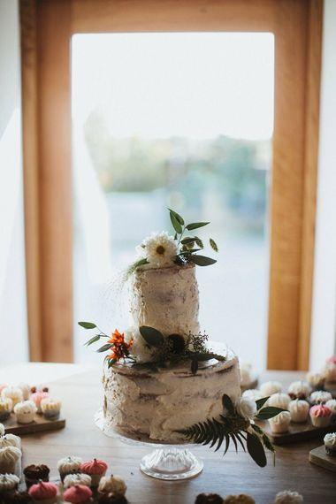 Homemade Wedding Cake With Flower Decoration