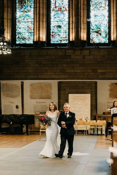 Wedding ceremony bridal entrance in stay wedding dress