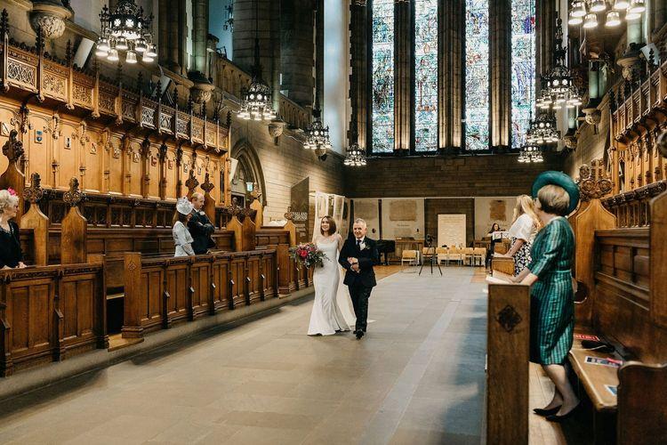 Wedding ceremony bridal entrance at Glasgow University Chapel