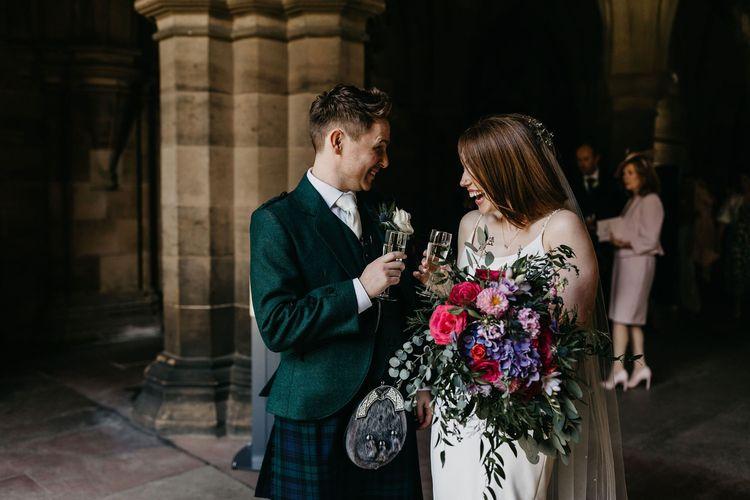 Happy bride and groom at wedding 2020