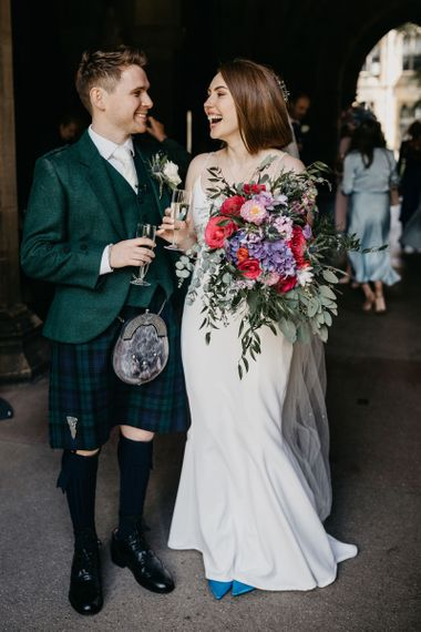 Bride and groom just married at August wedding 2020