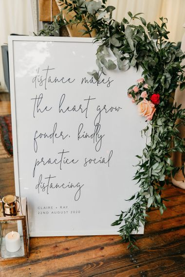Distance makes the heart grown fonder wedding sign for 2020 wedding