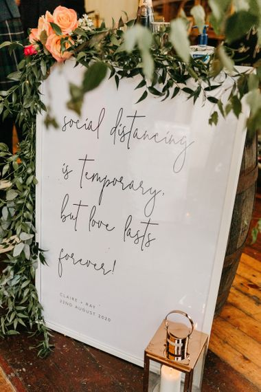 Social distancing is temporary wedding sign for 2020 wedding