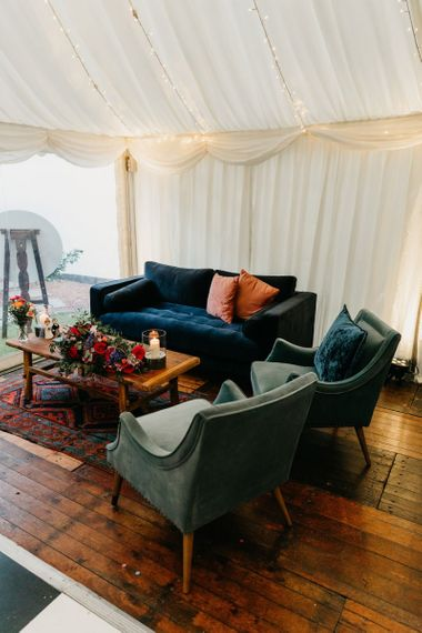 Chill out area with velvet sofa and chairs