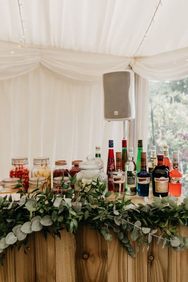 Bar area with spirts and garnishes
