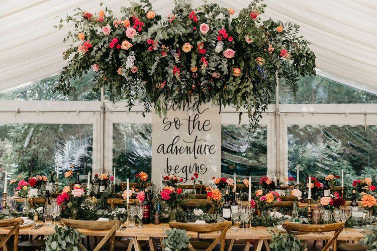 Colourful marquee wedding reception for wedding 2020