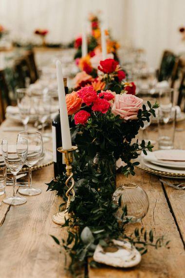 pink, red and orange wedding flower arrangements