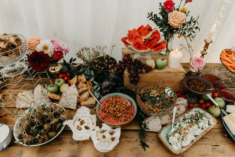 Wedding catering at marquee reception