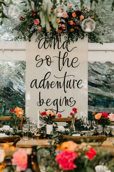 And so the adventure begins fabric sign