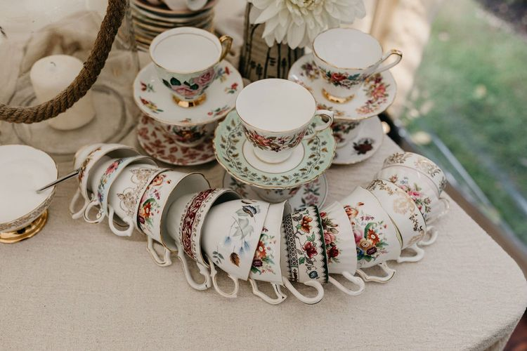 Vintage china tea cups and saucers