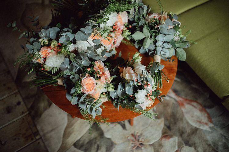 Peach David Austen Rose Wedding Bouquet // Images By Emily & Steve