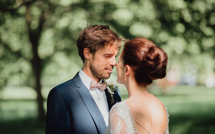 Groom In Navy Ted Baker Suit From Moss Bros. Hire // Images By Emily & Steve