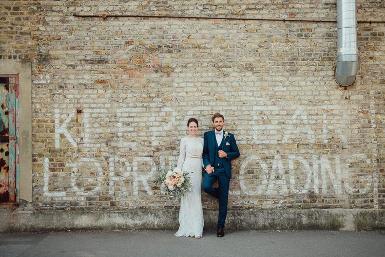 Bride In Long Sleeved Dress By Calla Blanche // Images By Emily & Steve