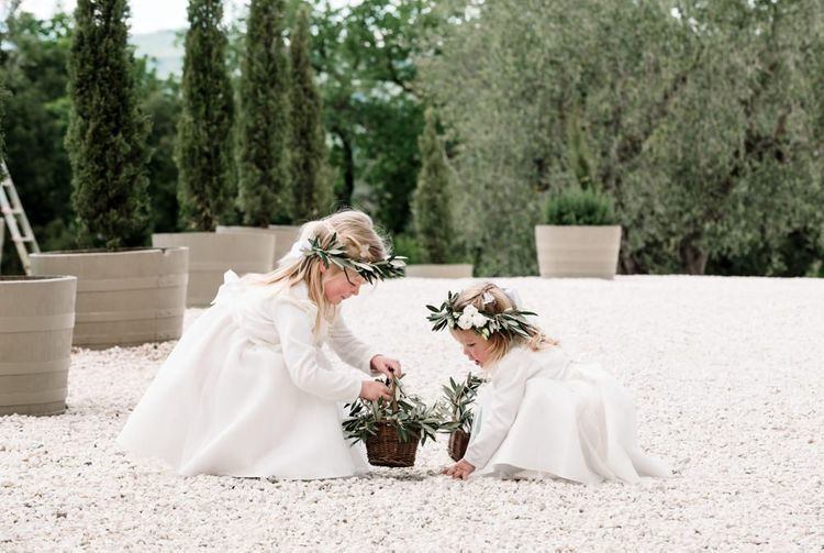 Flower Girls In White Dresses With Flower Crown