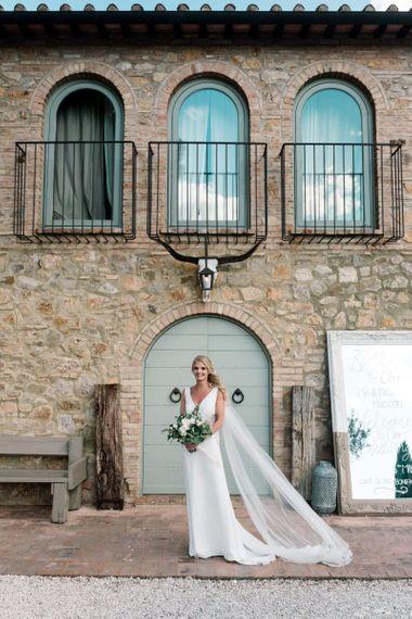 Bride With Badgley Mischka Wedding Dress for Tuscany Wedding
