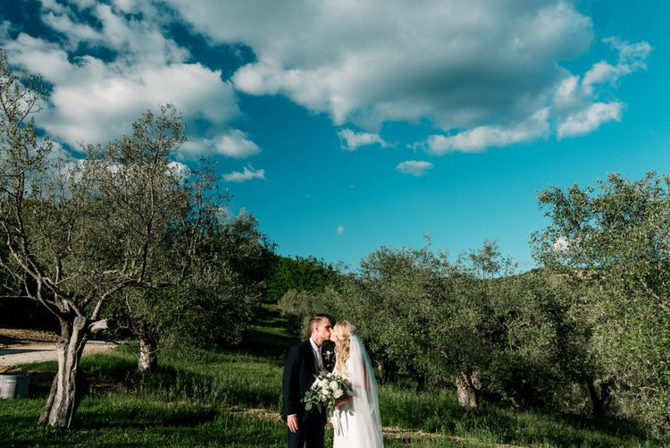 Blue Skies for Bride and Groom in Tuscany  Wedding