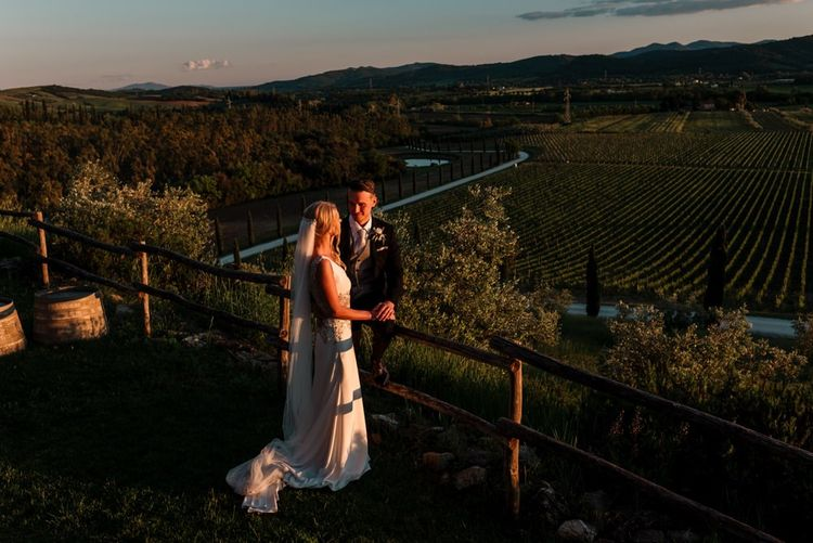 Sunset Couple Portraits Over Vineyards