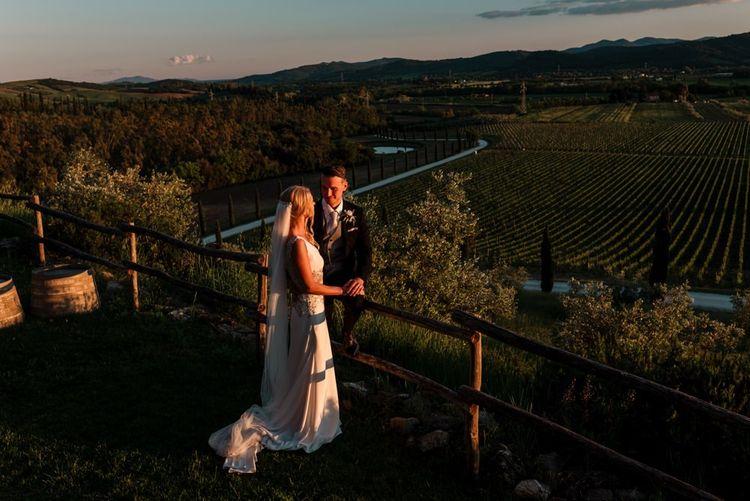 Sunset Couple Portraits Over Vineyards
