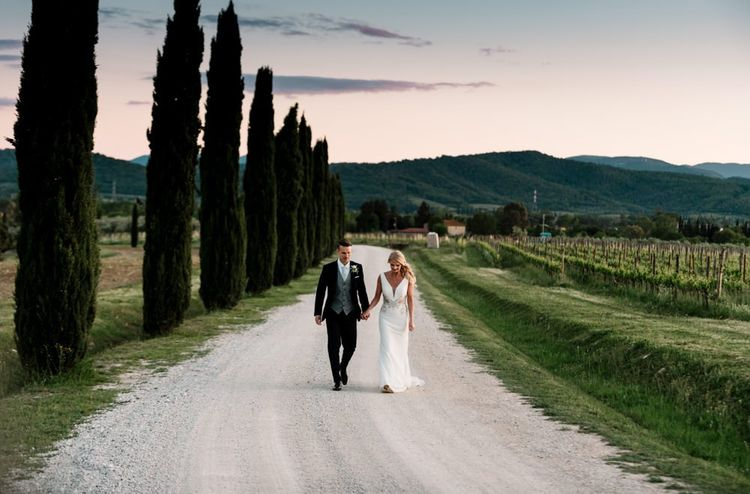 Bride and Groom In Tuscany Wedding
