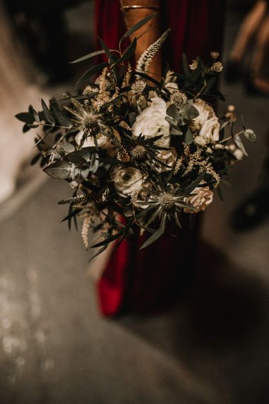 Pew End of White Flowers, Green Foliage and Thistles Tied with Maroon Ribbon   Festoon Light Canopy and Indoor Trees for Humanist Wedding in St Andrews   Carla Blain Photography