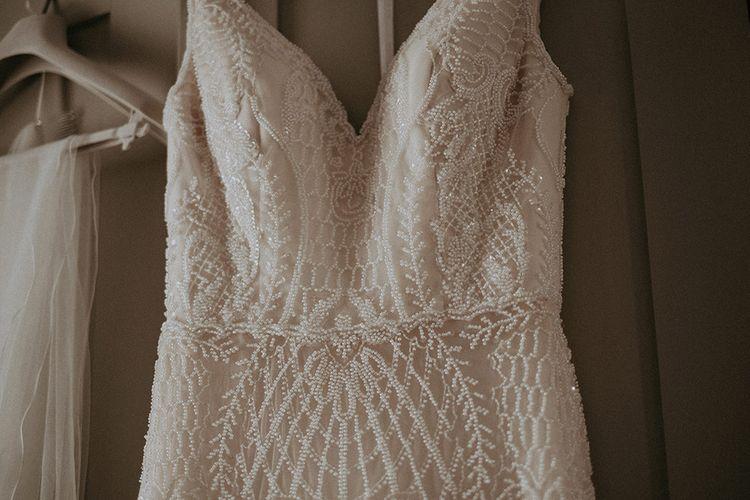 Ashley and Justin Blush Lace Wedding Dress