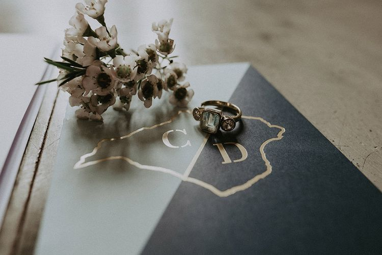 Wedding Stationery with Floral Button Hole and Engagement Ring