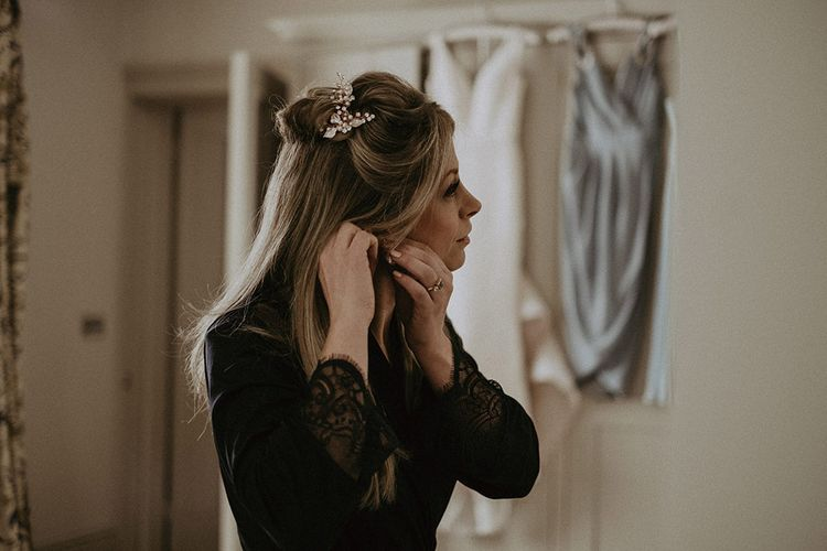 Bridal Wedding Preparations with Hair Piece and Hair Half Up and Half Down