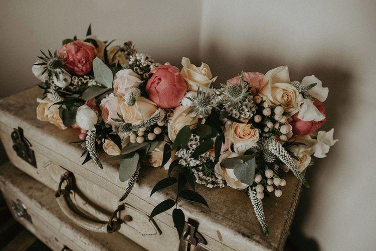 Peony Wedding Flowers on Decorative Suitcases