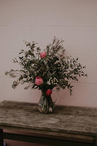 Wedding Flowers in Vase with Pink and Coral Peonies