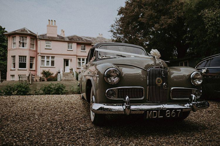 Vintage Wedding Car in Front of Isle of Wight Wedding Venue