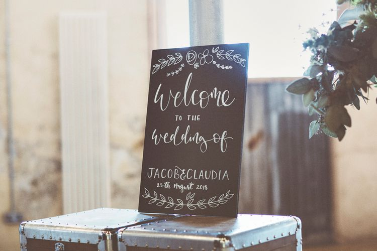 Chalkboard Welcome Sign | Lace Bridal Cape Veil & Fishtail Wedding Dress by Pronovias | On Love and Photography