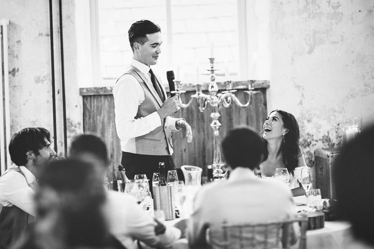 Groom's Speech | Groom in Navy Tails and Grey Waistcoat | Gold Candleabra with White Tapered Candles | Lace Bridal Cape Veil & Fishtail Wedding Dress by Pronovias | On Love and Photography
