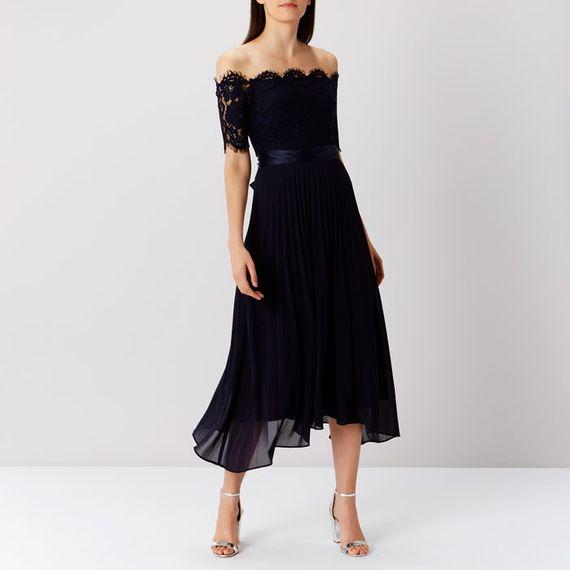 Bardot Neck Bridesmaids Dress In Navy From Coast