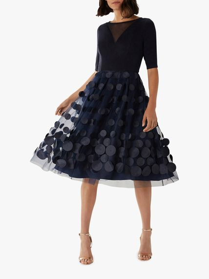 Navy Spotty 50s Style Dress For Bridesmaids From Coast