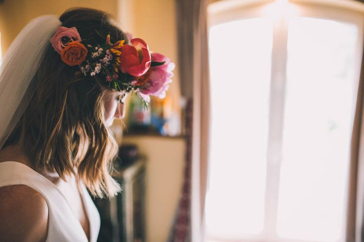 Flower Crown For Bride With Pink And Orange Tones