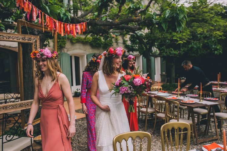 Bridal Party Enter Ceremony With  A Flower Crown For Bride Ceremony