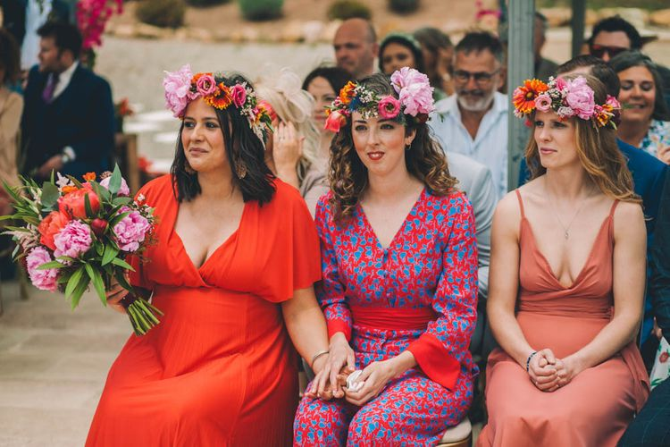 Bridesmaids Each Wear A Flower Crown For Ceremony