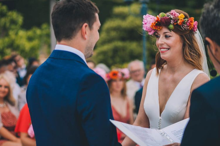 Bright Flower Crown For Bride In France