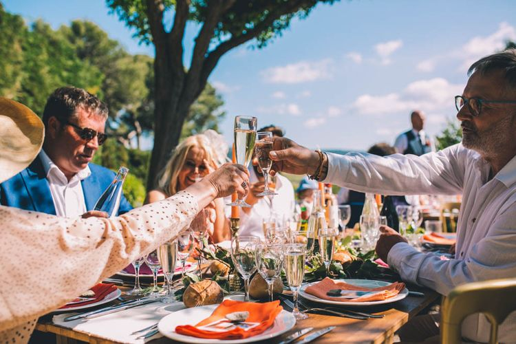 Guests Share A Toast At South Of France Wedding