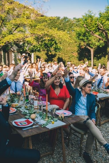 Guests Cheers During Wedding Speeches