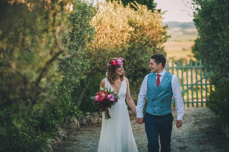 Bride Carries Peony Bouquet and Wears Flower Crown For Bride