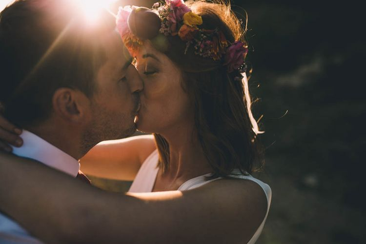 Flower Crown For Bride At French Wedding