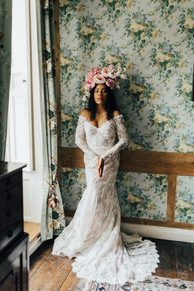 Lace off the shoulder wedding dress at Chiddingstone Castle