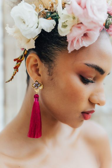 Hot pink tassel earrings for stylish bride