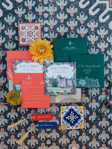 colourful folk inspired stationery suite by Aimee Willow Designs