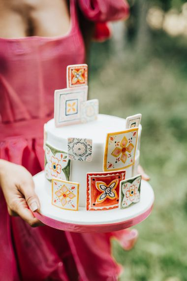 wedding cake with colourful tile motif