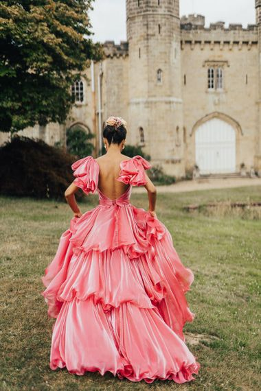 bride in colourful wedding dress at Chiddingstone Castle