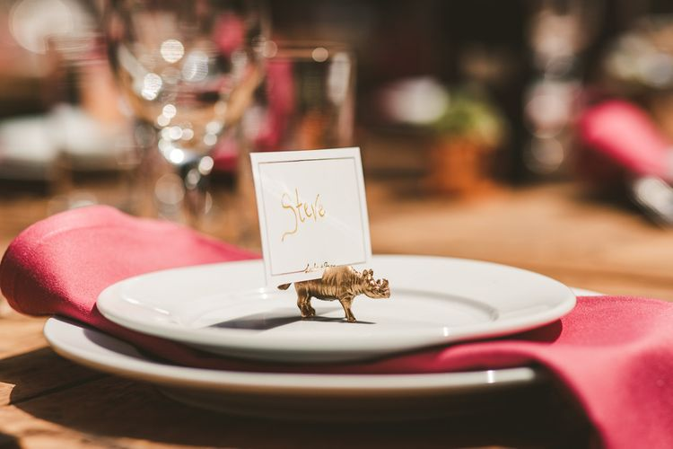 Jungle Name Place Settings | Colourful Wedding Fiesta at Abbotsbury Wedding in Weymouth, Dorset | Photography by Paul Underhill.