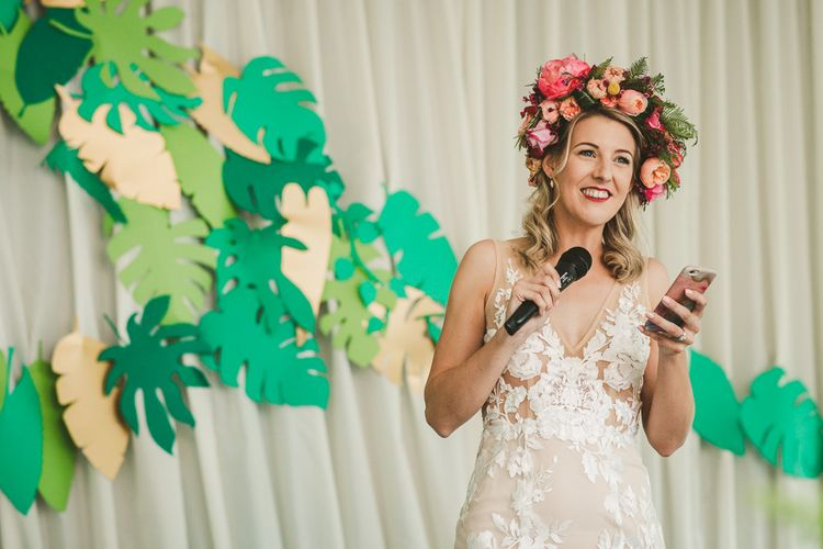 Brides Speech | Stevie Dress for Made with Love | Pink Flower crown by Concept Flowers | Colourful Wedding Fiesta at Abbotsbury Wedding in Weymouth, Dorset | Photography by Paul Underhill.